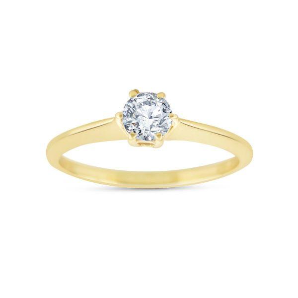 briliantový prsteň zo žltého zlata, briliant je oválneho tvaru